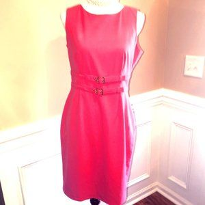 Calvin Klein Pink Sleeveless Buckle Midi Dress 8